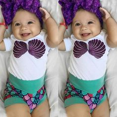 Infant Baby Kids Girl Cotton Romper Top+Little Mermaid Shorts Outfit Clothes Set #Unbrand #PartyCasual #babyclothesdisney