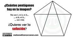 ¿Cuántos pentágonos hay en la imagen?… No son 1, ni 2, ni 3… ni 8, ni 9… son más… Aquí tienes la solución