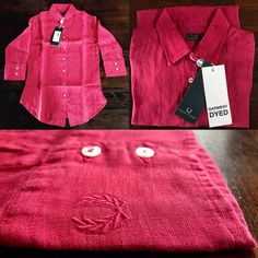 Fred Perry Womens Shirt. Sleeve|Manica 3/4. Red. #fredperry #london #womens #donna #shirt #camicia #linen #lino #red #rosso #amarena