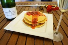 Champagne Pancakes & Strawberry Champagne Syrup thanks to my friend over at Traveling Corkscrew - these look delish! #champagnepancakes #champagne