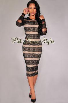 Black Lace Nude Illusion Long Sleeves Midi Dress