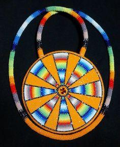 Beautiful Native American Beaded Medallion (pinned by Asdzaa Yazzie)