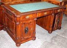 For sale, Desk, Historism, walnut, 1880 - 90, 78 cm x 164 cm x 93 cm (h x w x d) Psací stůl, historismus, ořech, 1880 - 90, 78 cm x 164 cm x 93 cm (v x š x h), www.stodola.cz Desks, Antique Furniture, Corner Desk, Antiques, Home Decor, Tables, Corner Table, Antiquities, Homemade Home Decor