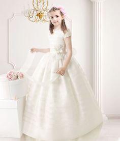 Ball Gown Short Sleeves Floor Length Organza Communion Dress