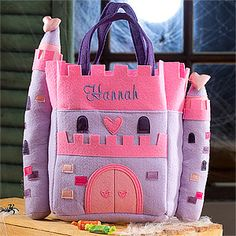 Such a cute way for your little princess to carry her things at her Princess Party or for her to collect her candy in on Halloween when she dresses up as a Princess! It's the Princess Castle Embroidered Trick or Treat Bag from PMall - it's only $19.95 and you can add her name for free! Love how it's soft and cuddly, too! #Princess #PrincessParty #Halloween #Castle