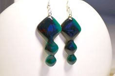 Fused Glass earrings with emerald green glass by RedPointTailor, €15.00  www.redpointtailor.com