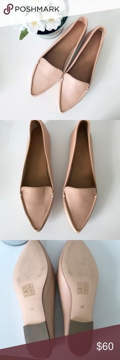 """J. Crew Edie Leather Loafers (6.5) NWOT Edie Leather Loafers in warm beige, which is a nude. The shoes are made of a buttery leather w/ a 1/5"""" heel. These are great heels for work. They are comfy and light on the feet. The shoes have great reviews on J.Crew!!! They are a size 6.5. I️ have only tried them on once.  Retail: $90 J. Crew Factory Shoes Flats & Loafers"""