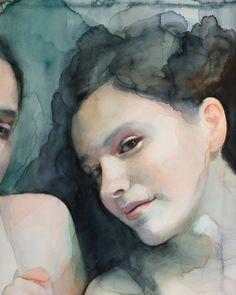 watercolour portrait paint by Ali Cavanaugh Watercolor Portrait Painting, Watercolor Face, Portrait Art, Watercolor Illustration, Watercolor Architecture, Figure Painting, Art Pictures, Pastel, Drawings