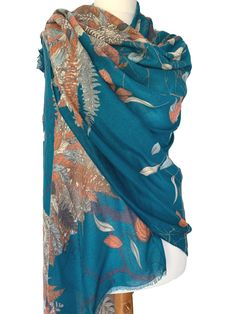 Beautiful large teal coloured scarf by Powder with the Autumn Owl print Excellent quality long wide and soft very versatile as large enough to be Pashmina Wrap, Pashmina Shawl, Teal Scarf, Scarf Hanger, Owl Print, Draped Fabric, Teal Colors, Free Uk, Powder