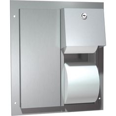 ASI model 20031 is a semi-recessed twin hide-a-roll toilet paper dispenser. It is made of stainless steel and can hold two standard or two diameter 1800 sheet toilet tissue rolls. Office Bathroom, Washroom, Toilet Paper Dispenser, Filing Cabinet, Storage, American, Home Decor, Purse Storage, Homemade Home Decor