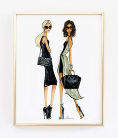 Fashion Illustration Print It Bags 8x10 by anumt on Etsy