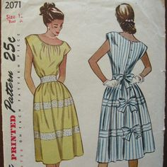 Etsy Empresspatterns Dress with Bows 40s Sun Dress Pattern ...