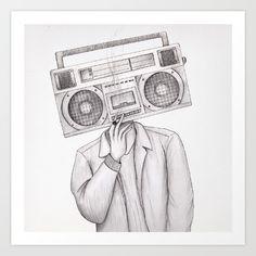 Radio Being Art Print - Available on Music Radio, Art Music, Art Prints, Wall Art, Illustration, Art Impressions, Illustrations, Wall Decor