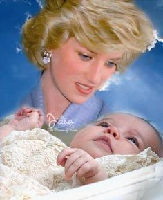 Late Princess Diana and Princess Charlotte pictured on her christening day.