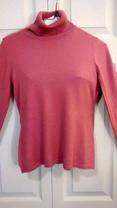 HURRY 1/2 HR LEFT!! $5  ANN TAYLOR LOFT Small Long Sleeve Pink Turtleneck #AnnTaylorLOFT #TurtleneckMock