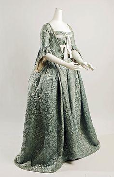 Rococo Period Dress (Robe à la Française)  Date: ca. 1750   Culture: European   Medium: (a) silk, metallic thread (b) silk, cotton (c) silk (d,e) metallic thread   Purchase, Irene Lewisohn Trust Gift, 1981