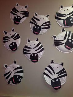 paper plate craft zebra animal week zoo animals classroom fun
