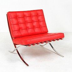 Barcelona Style Accent Lounge Chair in Genuine Red Leather Leather Lounge, Saddle Leather, Tan Leather, Deep Seat Cushions, Selling Furniture, Cheap Furniture, Barcelona Chair, Diy Chair, Classic Furniture