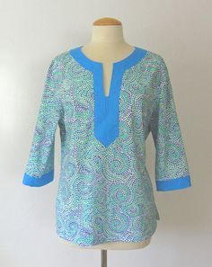 Create a clean finish neckline placket with no facings and use any fabric from quilting cotton to silk in part two of sewing your own tunic tip!