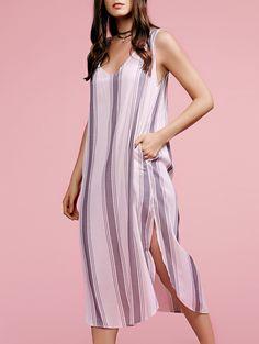 Plunging Neck Sleeveless High Slit Striped Dress
