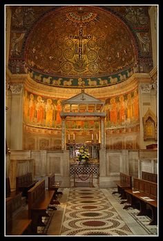 Gorgeous century mosaic work and hidden beneath the basilica is a century mithraeum. Sacred Architecture, Amazing Architecture, Old Churches, Catholic Churches, Roman Church, Ancient Buildings, Church Interior, Cathedral Church, Rome Travel