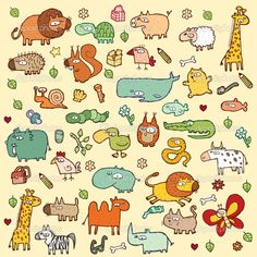 Cute and funny animals and everyday objects collection. Each element is seperate group (only in vector files). — 图库插图 #22365039