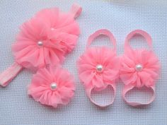 Items similar to Pink baby barefoot sandals headband and wristlet- Newborn Barefoot sandals-Toddler Barefoot set on Etsy Baby Sandals, Bare Foot Sandals, Baby Doll Shoes, Diy Baby Headbands, Butterfly Baby, Diy For Girls, Baby Crafts, Baby Girl Fashion, Baby Decor