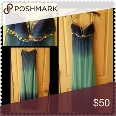 Gorgeous ombre gown size 4 Blue/turquoise ombre gown. Worn once for military ball. You'll receive endless compliments. Dresses Prom
