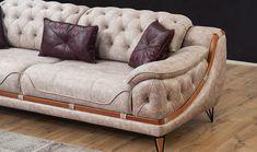 Blue Velvet Sofa Living Room, Leather Living Room Set, Living Room Sofa Design, Wooden Sofa Designs, Sofa Set Designs, Chesterfield Style Sofa, Unique Sofas, Sofa Styling, Sofa Frame