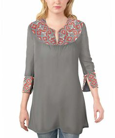 Take a look at this Charcoal Three-Quarter Sleeve Tunic by Gretchen Scott on #zulily today!
