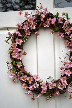 The Lab on the Roof: 15 Cherry Blossom Decor Ideas for Spring Wreath Crafts, Diy Wreath, Door Wreaths, Grapevine Wreath, Yarn Wreaths, Ribbon Wreaths, Tulle Wreath, Floral Wreaths, Burlap Wreaths