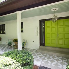 Stenciled and Painted Front Porch Makeover