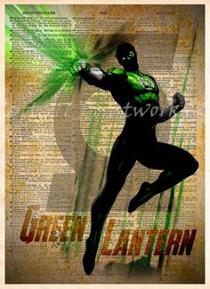 Green Lantern, Vintage Silhouette print, Cool Super Hero Art, Dictionary print art