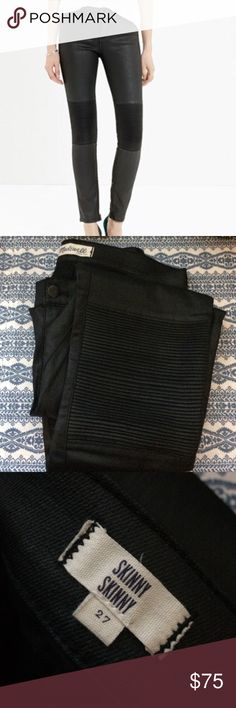 Madewell Racetrack Skinny Jeans By Madewell - size 27 - Excellent condition, like new - knee pad stitching - shiny finish - has stretch - zippered at leg opening - 72% cotton - 26% nylon - 2% elastane - skinny skinny style Madewell Jeans Skinny