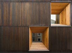 Art facades facade-s Wood Architecture, Minimalist Architecture, Architecture Details, Facade Design, House Design, Wooden Facade, Timber Cladding, Building Facade, Glass Facades