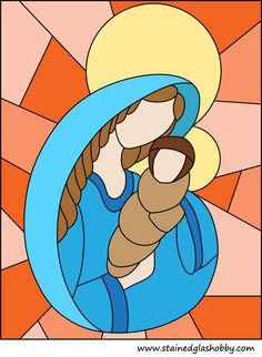 Holy Mary with child stained glass design