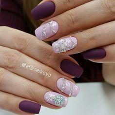 Purple pink swarovski nail art