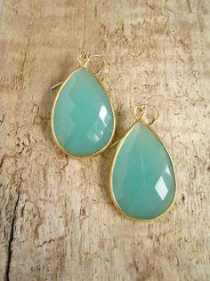 Large Green Chalcedony Earrings 18K Gold Vermeil by julianneblumlo, $98.00