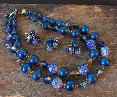 Blue Vendome Necklace Set Blue Beaded Jewelry Coblat Blue Necklace Set () by PassingTides