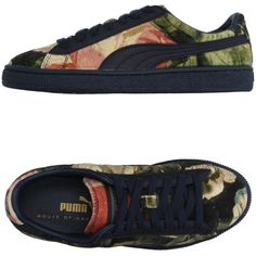 House Of Hackney X Puma Low-tops & Trainers ($120) ❤ liked on Polyvore featuring shoes, sneakers, military green, flat sneakers, low profile sneakers, round cap, olive shoes and puma shoes