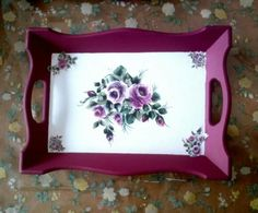 Ahşap boyama tepsi modelleri – Ahşap boyama örnekleri – Keep up with the times. Tole Painting, Painting On Wood, Decoupage Box, Painted Trays, Tea Tray, Shabby Chic Farmhouse, Diy And Crafts, Projects To Try, Decorative Boxes