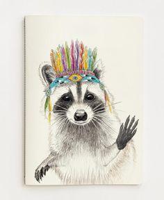Raccoon als Premium Poster von Janine Sommer Pinguin Illustration, Vogel Illustration, Art Mural, Wall Art, Raccoon Drawing, Raccoon Art, Watercolor Animals, Watercolor Art, Animals