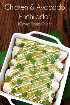 Chicken & Avocado Enchiladas made these tonight. Probably the best enchiladas I have ever had. Definitely keeping this recipe! I Love Food, Good Food, Yummy Food, Tasty, Avocado Enchiladas, Enjoy Your Meal, Great Recipes, Favorite Recipes, Gourmet