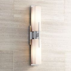 Possini Euro Design Midtown 23 High Chrome Bath Light - also comes in satin finish Led Bathroom Lights, Bathroom Sconces, Bathroom Light Fixtures, Wall Fixtures, Bathroom Ideas, Bath Ideas, Bathroom Designs, Bathroom Renovations, Master Bathrooms