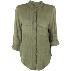 Raquel Allegra Army Green Long Sleeve Button Up (200 CAD) ❤ liked on Polyvore featuring tops, blouses, shirts, long sleeves, blusas, green blouse, green button down shirt, button-down shirt, long sleeve button down shirts and long-sleeve shirt
