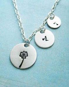 Dandelion Sterling Silver Necklace Blowing Away In The Wind 3 Piece Necklace sister mother daughter child friend aunt wife cousin by MarleyJaneDotCom on Etsy https://www.etsy.com/listing/69437136/dandelion-sterling-silver-necklace