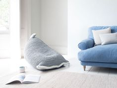 We were after a snug knitted wool bean bag for our home and designed this squishy chap. We're pretty chuffed with it, too. Outdoor Pool Furniture, Bean Bag Living Room, Leather Bean Bag, Bean Bag Covers, Living Room Arrangements, Comfy Sofa, Hobby Room, Scandinavian Furniture, Living Room Designs