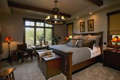 Master Bedroom. Stunning Rustic Southwestern Flair home located in Bridger Canyon, Bozeman, Montana. Designed by Formescent Architects, built by Parks Angel Construction, photos by Jeremy Thurston Photography. #formescent #bozemanarchitecture