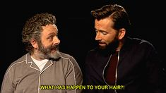 Michael Sheen & David Tennant on We Heart It Michael Sheen, Neil Gaiman, David Tennant, Good Omens Book, Rory Williams, Terry Pratchett, Himym, Funny Babies, Actors & Actresses