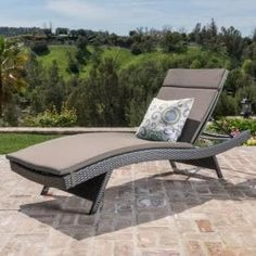 Hampton Bay Laurel Oaks Brown Steel Outdoor Patio Chaise Lounge with Sunbrella Beige Tan Cushions-H102-01574700 - The Home Depot Navy Blue Cushions, Green Cushions, Striped Cushions, Patio Furniture Cushions, Pool Furniture, Modular Furniture, Asian Furniture, Steel Furniture, Furniture Plans